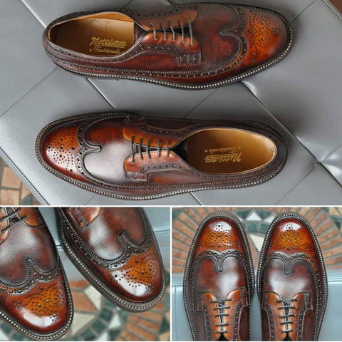 Vintage Nettleton Longwing Bluchers given a custom patina reverse burnish using a combination of products and Pure Polish High Shine Wax