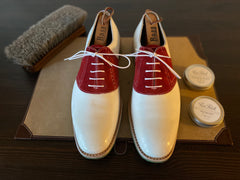 White Leather and Red Suede Carlos Santos Oxford Saddle Shoes with dirty toes