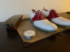 High Shine Paste Wax for Mirror Shines to be used on the Carlos Santos White Leather Saddle Shoes