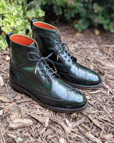 Wingtip Wednesday Allen Edmonds Dalton Boots with custom green patina and mirror shine - top left view