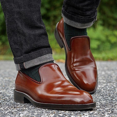 Zeb Wholecut Horween Color 4 Shell Cordovan Slippers on the London Last cared-for with Water Resistant Cream paired with Viccel Dress Socks, and Black Naked and Famous Selvedge Denim.