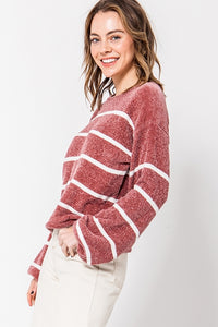 Ruth Striped Balloon Sleeve Sweater