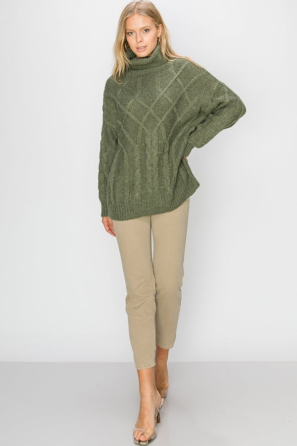 Jackalene Oversized Cable Knit Sweater - Other Colors Available