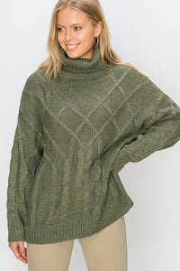 Jackalene Oversized Cable Knit Sweater - More Colors