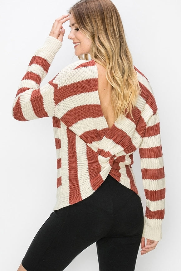 Sienna Stripe Sweater with Twist Back - Other Colors Available