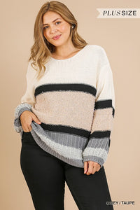 June Mulitcolor and Multifabric Sweater - Plus Size