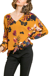 Carrie Floral Print Front Tie Blouse