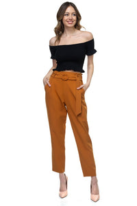 Sophia O-Ring Belt Techno Crepe Pants - Other Colors Available