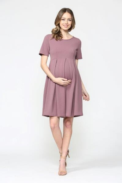 Elise Pleated Maternity Dress