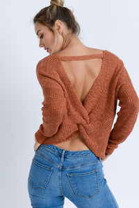 Vanessa Open Back Twisted Sweater - Other Colors Available