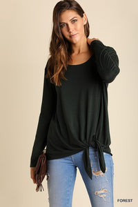 Monique Long Sleeve Top with Front Waist Tie