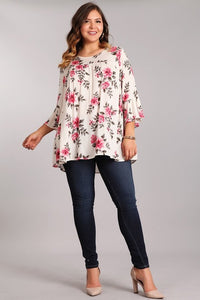Relaxed Fit Floral Ruffle Top - Plus Size