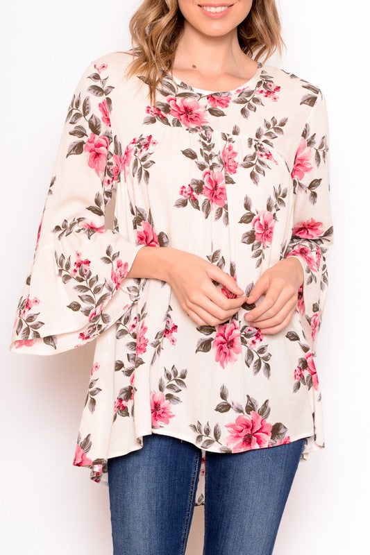 Relaxed Fit Floral Ruffle Top