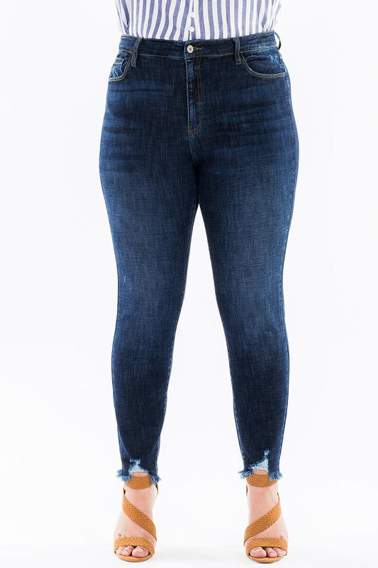 KanCan High-Rise Frayed Hem Jeans - Plus Size