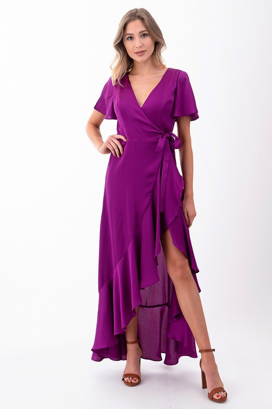 Linda Ruffle High-Low Wrap Dress