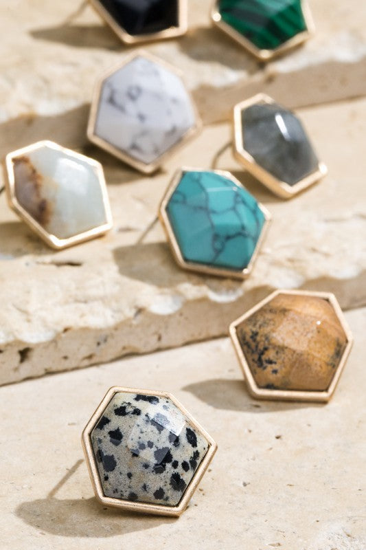 Natural Stone Hexagon Earrings - More Colors