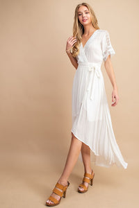 Brooke High-Low Lace Trim Dress
