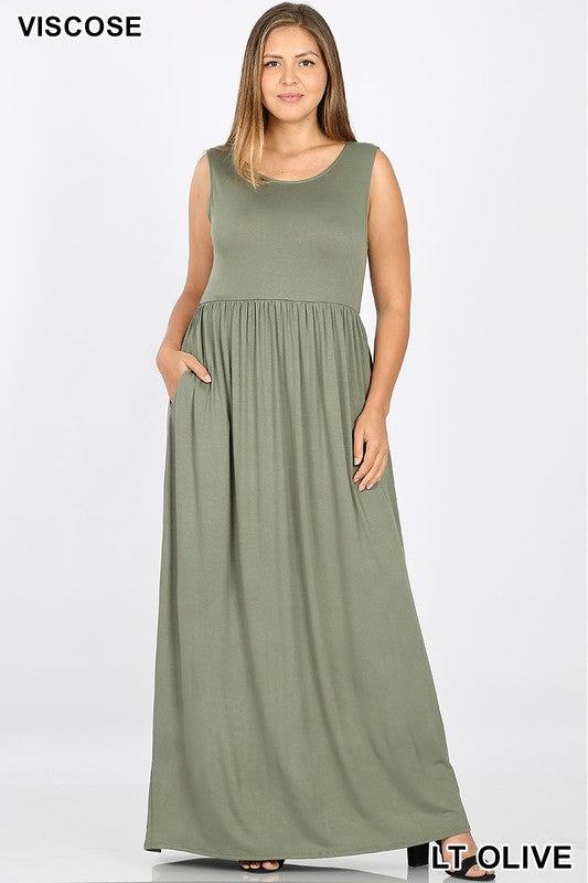 Pearl Plus Size Sleeveless Maxi Dress - Other Colors Available