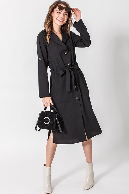 Annistyn Button Down Tie Waist Midi Dress
