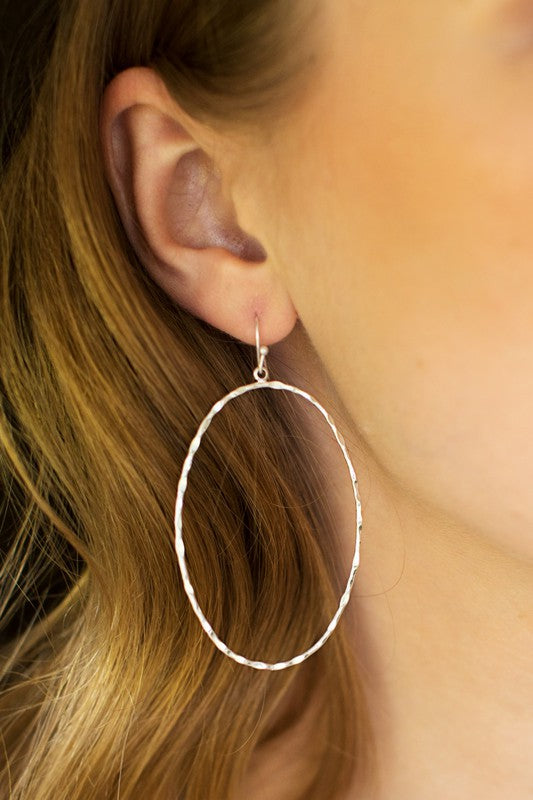 Oval Hammered Metal Earrings - More Colors