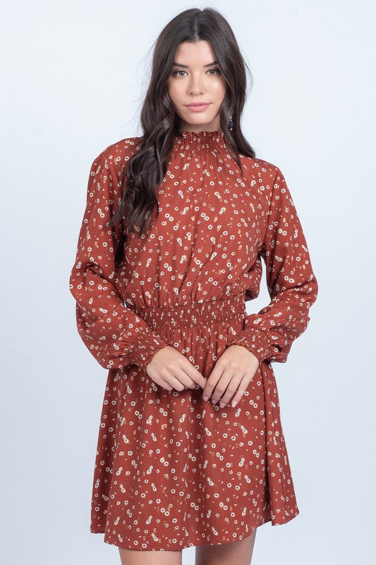 Carmen Mock Neck Floral Dress - Other Colors Available