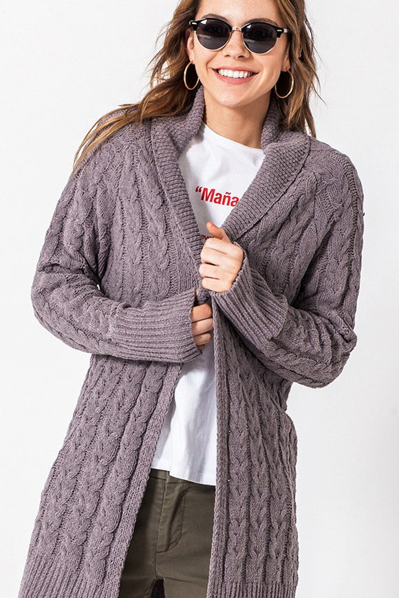 Bristol Shawl Collar Cable Knit Cardigan