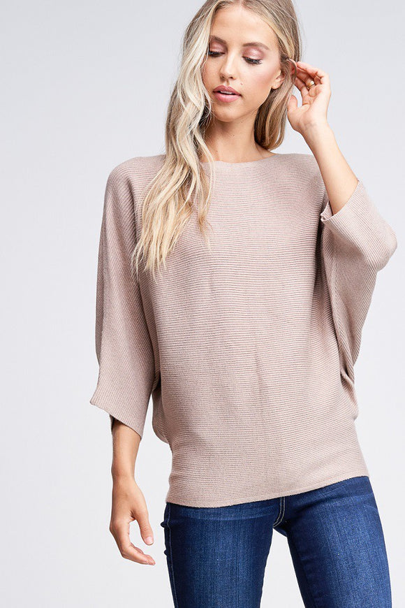 Allison Ribbed Dolman Sweater