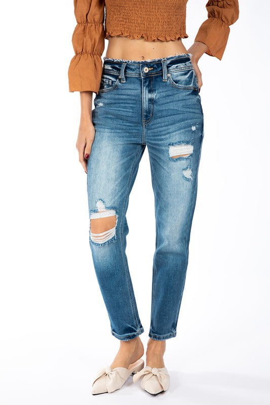 Violet High-Rise Distressed Mom Jean - Kancan