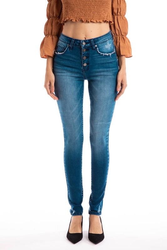 Kancan Four Button High-Rise Skinny Jeans
