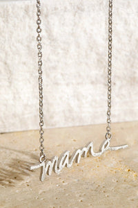 """Mama"" Brushed Metal Necklace - More Colors"