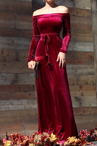 Lana Velvet Off Shoulder Dress