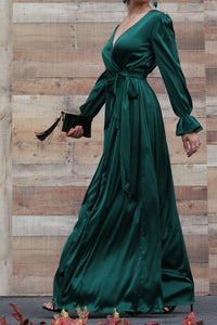 Zara Ruffle Sleeve Satin Dress