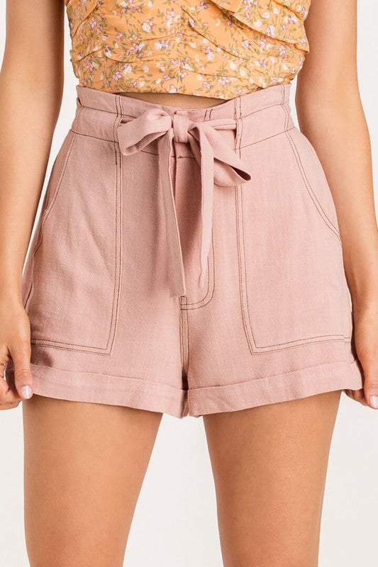 Trista High Waisted Paperbag Shorts