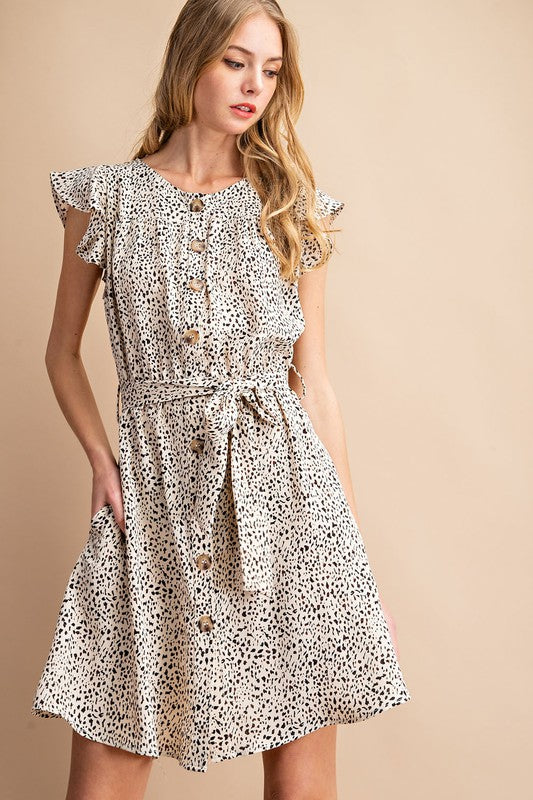 Elsa Button Down Animal Print Dress - Other Colors Available