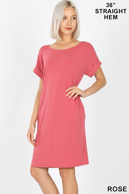 Lainey Rolled Short-Sleeve Round Neck Dress