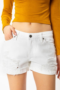 Kancan Mid-Rise White Distressed Short