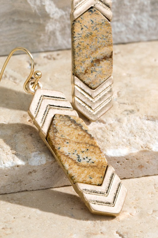 Chevron Stone Earrings