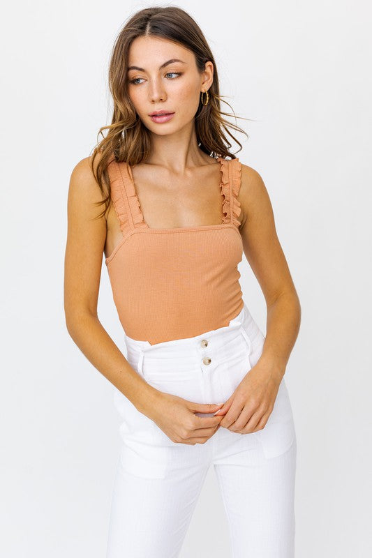 Olivia Ruffle Ribbed Bodysuit - More Colors