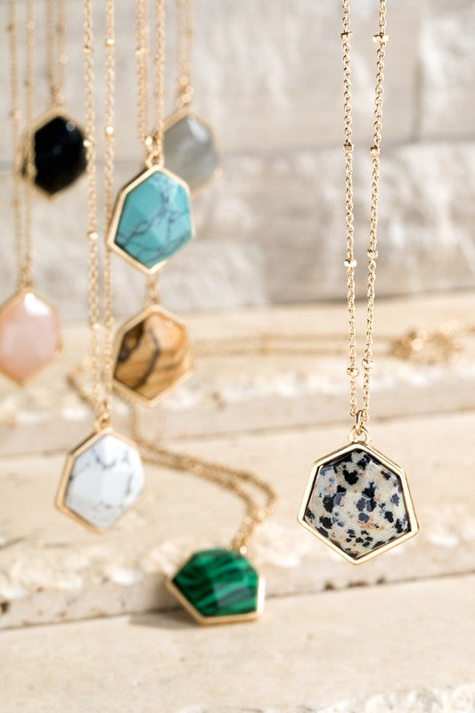 Hexagon Natural Stone Necklace - More Colors