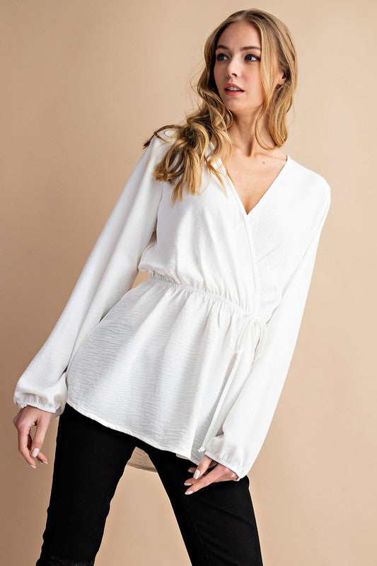 Bella Faux Wrap Top- More Colors Avail.