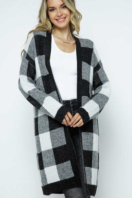 Jax Knit Plaid Cardigan- Plus Avail.