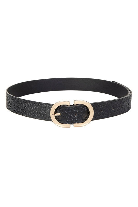 Faux Leather Semi Circle Buckle Belt
