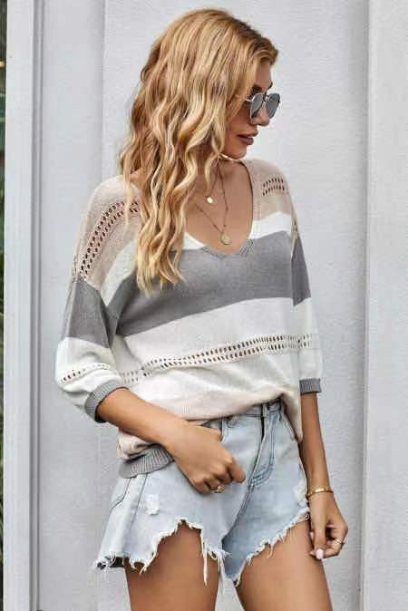 Trish Lightweight Striped Sweater - Plus Available