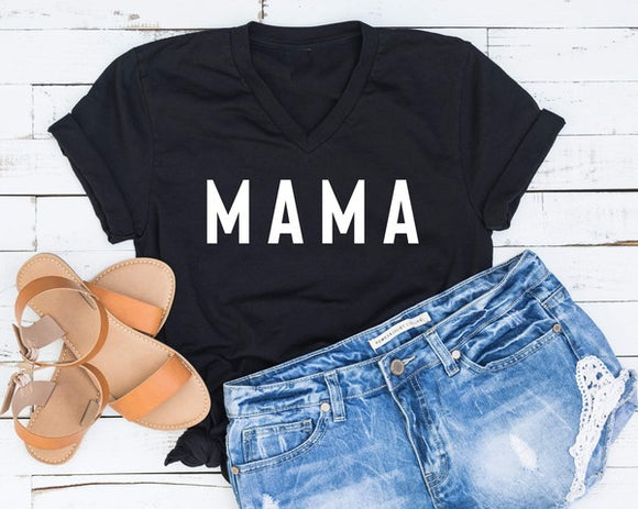 Mama V-Neck Tee - Plus Available