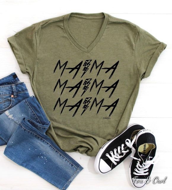 Mama Lightning Bolt Tee - Plus Available