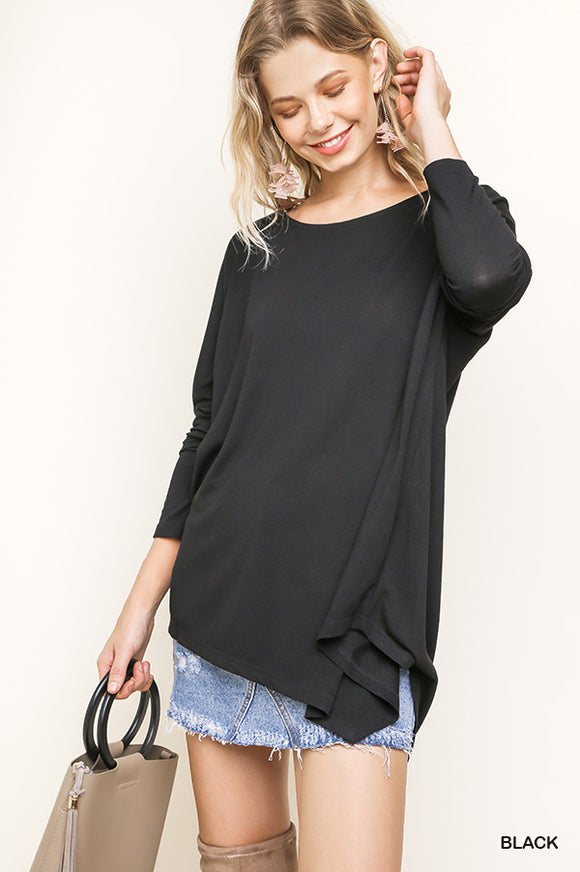 Audrey Dolman Sleeve Solid Top