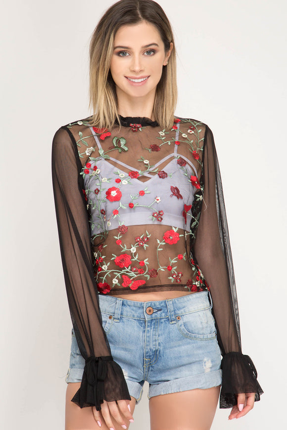 Laken Sheer Embroidered Top