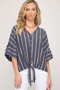 Laurel Button Down Top with Tie Detail