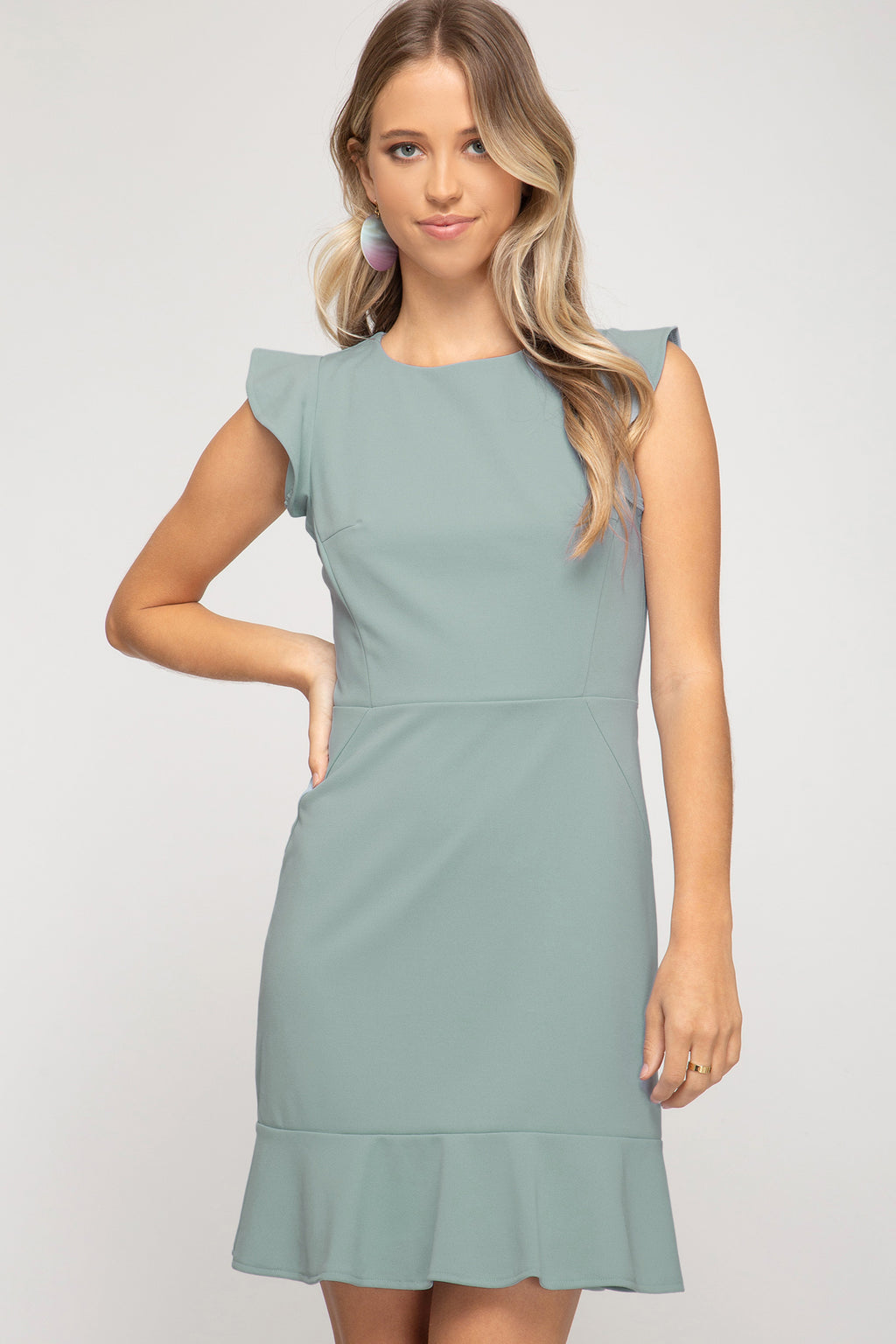 Marina Ruffled Cap Sleeve Dress