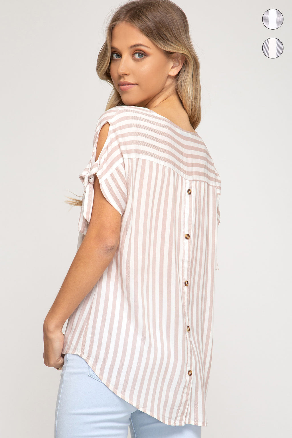 Monica Striped Top w/ Button Detail